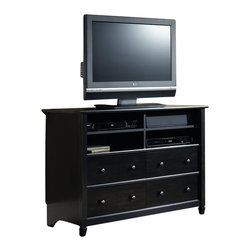 Sauder - Sauder Edge Water Highboy TV Stand in Estate Black - Sauder - TV Stands - 409242 - The clean lines of the Edge Water Collection bring a new spin to cottage style. In keeping with the relaxed sophistication of the collection each piece is detailed with solid wood sculpted tapered feet distinctive kick rails elegant dark Spanish hardware and shapely soft framed doors and drawers. Finished in an elegant Estate Black finish with a warm gold undertone and designed with a great attention to modern function and storage Edge Water creates a relaxed oasis that still serves today's mobile technology lifestyle.