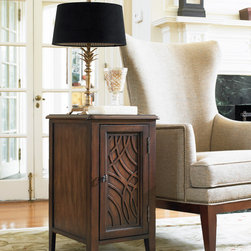 Hooker Furniture - Hooker Furniture Chairside Chest 500-50-820 - This chairside chest end table serves dual function with its convenient storage space within its cabinet, and its table top at the perfect height for any sofa or living room chair. The storage space has one adjustable shelf. The unique pattern on the door will add charm to your living room.