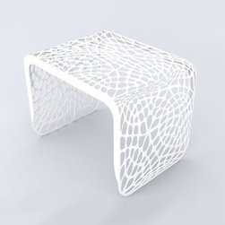 Arktura - Arktura | Coral Side Table - Design by Arktura.The Coral Side Table is a versatile, practical piece of furniture with a modern twist. The algorithmically-generated, laser cut pattern extends along the full length of the form, and provides a visually complex experience. Constructed from radius bent steel and powder coated in four exciting color options. Also available in a Table/Bench or Bench models. Suitable for indoor/outdoor use.The Coral Side Table is produced with wind and solar power, as are all products from Arktura. Their approach to sustainability begins with a commitment to make quality products that last for a lifetime; and continues into their manufacturing process. Many Arktura products are made of recycled steel and aluminum, which in some pieces contains up to 100% recycled content. And all metallic pieces produce zero landfill waste from manufacture.