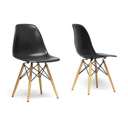 Baxton Studio - Azzo Black Plastic Mid-Century Modern Shell Chairs (Set of 2) - These classic,black shell chairs will instantly enhance the modernity of your room. Each of these mid-century modern dining chairs is made from durable,molded plastic with an ergonomic seat,creating the ultimate form-meets-function piece.