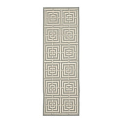 Safavieh - Poolside Grey/ Cream Indoor Outdoor Rug (2'4 x 9'11) - This lovely gray indoor/outdoor rug will add an understated elegance to your home or office. It features a light-gray background with eye-popping geometric patterns for flair. This durable rug is resistant to mold, mildew, and fading.
