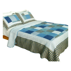 Blancho Bedding - [Coastal Life] 100% Cotton 3PC Vermicelli-Quilted Patchwork Quilt Set Full/Queen - The [Coastal Life] Quilt Set (Full/Queen Size) includes a quilt and two quilted shams. Shell and fill are 100% cotton. For convenience, all bedding components are machine washable on cold in the gentle cycle and can be dried on low heat and will last you years. Intricate vermicelli quilting provides a rich surface texture. This vermicelli-quilted quilt set will refresh your bedroom decor instantly, create a cozy and inviting atmosphere and is sure to transform the look of your bedroom or guest room. Dimensions: Full/Queen quilt: 90 inches x 98 inches; Standard sham: 20 inches x 26 inches.