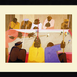 "Amanti Art - ""The Pool Game"" Framed Print by Jacob Lawrence - This striking print captures a lively pool hall in Harlem in the not-so-distant past. Jacob Lawrence's stunning portrait will also look stately in your home, evoking the legendary jazz scene from the 1940s and 1950s."