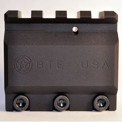 BTE Gas Block .750 with top rail - This is the latest from Battle Tested Equipment, second generation B.T.E. Standard height gas block with picatinny rail. The use of this block gives you an optics platform that goes from the charging handle to the front of the gas block. We also offer an adjustable option that allows you to adjust the amount of gas entering the chamber of your rifle, turning your over-gassed rifle into a smooth and reliable precision machine. And think about it, the less gas you allow into the chamber the less mess there is to clean up. Adjustable gas blocks are a must for the factory over gassed rifles of today as well as any suppressed fire. Works great in a carbine, mid-length or rifle length application. We are also including a mil-spec roll pin with the purchase of this block.