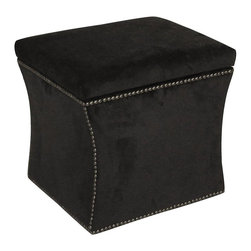 Skyline Furniture - Nailbutton Storage Ottoman - This classy all black upholstered ottoman not only functions as a relaxing accent piece but also provides concealed storage within. Pewter finished nail button trim provides an eye-catching contrast to the rich dark fabric and adds an air of sophistication to this piece. Includes pewter nail buttons. Fully upholstered. Luxurious, beautiful and functional. 100% Cotton. Plenty of storage space. Provides your bedroom with ultimate comfort and elegance. 19 in. L x 17 in. W x 19 in. H