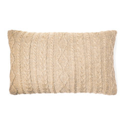 "Johanna Howard Home & Accessories - Howard Cable Rectangle Pillow, Light Camel, 12""x20"" - Howard Cable Rectangle Pillow features JHH&A'a signature cable stitch design.Made by a small family owned business in Peru, it is knitted in incredible soft and lustrous 100% baby alpaca. Currenlty there are four color options available in this style.  It is designed to work back to the Howard Cable Throw or any of the other throws in the collection for a mix and match effect and comes with a 90/10 feather down insert. It has  back buttons for extra details. 12""x20"", 100% baby alpaca. Dry cleaning recommended. Made in Peru. Fair Trade."