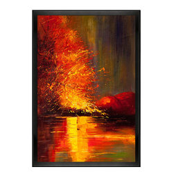 "overstockArt.com - Kopania - River Oil Painting - `""River"" is a beautiful image of nature in Autumn with a calm reflective river. Enjoy its beauty and color reproduced as a fine canvas hand painting. Justyna Kopania is from Warszawa, Poland. In her words when she paints she tries to show the 'world', which could be seen by looking at reality that surrounds us, from another perspective, unusual, remote, sometimes through the eyes of the child, sometimes music, composer, or someone who looks lichen on the sea, the moon , the sky and the stars ..., the river ... looks out the window and looks out into the street. Walking down the street looking at people's faces. In rain, snow or fog. Perhaps the world that surrounds us really is quite different than we perceive it every day."