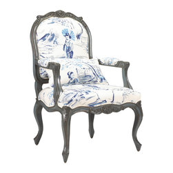 Kathy Kuo Home - Bayonne French Country Blue Geisha Upholstered Arm Chair - Welcoming guests with open arms, this delightfully designed armchair is as comfortable as it is colorful. The daring combination of blue geisha fabric and teal wood finish creates a zen feeling. With a high back, perfectly placed arms and luxuriously upholstered seat, this armchair will quickly become everyone's favorite. Made to order in the USA; please allow 3 months lead time to ship.