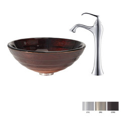 Kraus - Kraus Iris Glass Vessel Sink and Ventus Faucet Brushed Nickel - *Add a touch of elegance to your bathroom with a glass sink combo from Kraus