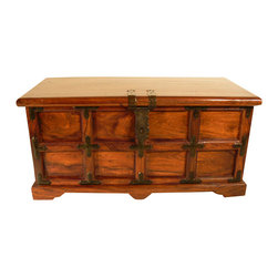 Sierra Living Concepts - Large Wood Storage Chest Box Trunk Sofa Coffee Table - Brand New Rectangular Solid Indian Rosewood Storage Trunk Coffee Table.