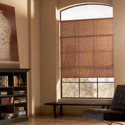 Designer Roller Screen Shades - Saint Charles - Hunter Douglas® Designer Screen shades in a living room provide privacy and protection but still allow some natural light to filter through.