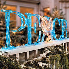 Holiday Outdoor Decorations LED 'Peace' Outdoor Christmas Decoration with Holographic Dove - Improvements Ca