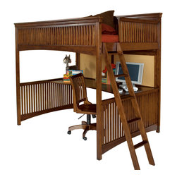 Lea Industries - Lea Elite Crossover 2-Piece Loft Kids' Bedroom Set in Burnished Cherry - Welcome to the Lea Elite collection , Crossover. A mixture of American Country, Arts and Crafts, and Shaker styles are blended to create this collection . The finish is a darker, burnished cherry with a lot of hand applied high lighting and accent; adding to the high style rustic and country design. The hardware is an antiqued brass color and adds even more simple to appeal to Crossover. design details such as the tapered posts accentuated with wood plugs add to the hand crafted motif. Crossover is a versatile group that fits Children's and teen rooms, condos, and even smaller master bedrooms.