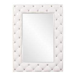 Howard Elliott - Glamour Mirror - This Canfield Mirror features a glossy white frame that is tufted with crystal studs.