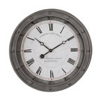 UTTERMOST - Porthole 24 inch Oversized Wall Clock - Rust gray metal frame with burnished edges.
