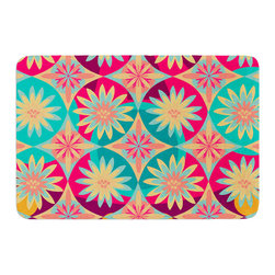 "KESS InHouse - Nika Martinez ""Happy Flowers"" Floral Abstract Memory Foam Bath Mat (17"" x 24"") - These super absorbent bath mats will add comfort and style to your bathroom. These memory foam mats will feel like you are in a spa every time you step out of the shower. Available in two sizes, 17"" x 24"" and 24"" x 36"", with a .5"" thickness and non skid backing, these will fit every style of bathroom. Add comfort like never before in front of your vanity, sink, bathtub, shower or even laundry room. Machine wash cold, gentle cycle, tumble dry low or lay flat to dry. Printed on single side."
