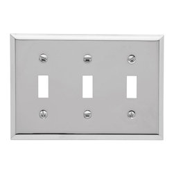 Baldwin Hardware - Beveled Edge 3 Toggle Wall Plate in Polished Chrome (4770.260.CD) - Feel the difference as Baldwin hardware is solid throughout, with a 60 year legacy of superior style and quality. Baldwin is the choice for an elegant and secure presence. As remarkably expressive as they are functional, these brass wall plates by Baldwin