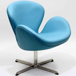 Modway - Wing Chair In Baby Blue Aniline Leather - Eei-527-Bbl - High Density Foam Cushioning