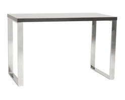 Euro Style - Dillon Desk in Gray - High-gloss lacquered desk top. Chromed steel legs. Easy to clean high-gloss finish. Clean, minimalist design. Color/Finish: Gray Lacquer/Chrome. 48 in. L x 24 in. W x 30 in. H8 square feet of solid, functional, never-go-out-of-style work surface.  The Dillon desk sits firmly on chromed stainless steel base.  Office.  Studio.  Reception.  Lets get to work!