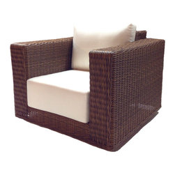 Wicker Paradise - Patio Wicker Swivel Chair - Santa Barbara - This is top of the line exceptionally well made patio wicker furniture. The Santa Barbara collection is woven high density polyethylene on a powder-coated arc welded aluminum frame. Beautiful weaving, 9 Inch thick cushions, and Contemporary styling make this set a must buy. Choose from dozens of designer inspired Sunbrella fabrics. A Wicker Paradise exclusive covered by a 3 year warranty. Ships with either Aruba (as-shown) Logo Red or Pure-Natural in days.