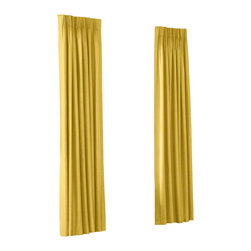 Yellow Fine-Woven Linen Custom Euro Pleat Drape Single Panel - Luxury meets functionality, tradition meets modernity in the Euro Pleated Drapery. Top-gathered pleats create a waterfall effect for an updated take on the classic pleat that's perfect for classic and modern rooms alike.  We love it in this mustard yellow soft lighweight linen blend with the finest texture.