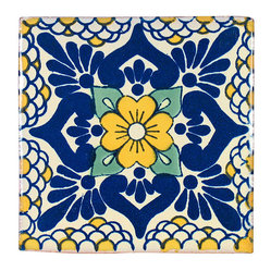 Blue and Yellow Talavera Tiles, Box of 15