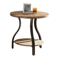 "Steve Silver Company - Steve Silver Company Denise Round End Table in Light Oak Finish - Steve Silver Company - End Tables - DN200E - Charming primitive style combines with modern curves to create the alluring Denise Collection. The Denise cocktail table stands 24"" high with a 24"" round barn board look wood top metal frame and a wood bottom shelf. This unique piece complements the Denise end table and sofa table."