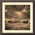 Amanti Art - Adam Jahiel 'Remuda #6' Framed Art Print 33 x 33-inch - Bring the breathtaking beauty of the Old West into your home with this stunning sepia-toned photo print by Adam Jahiel, Remuda #6. This acclaimed photographer is celebrated for his signature subject matter -- the cowboys and wild horses living in the Great Basin, one of the most inhospitable regions of the rugged West.
