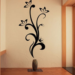 StickONmania - Plant Vine with Flowers #7 Sticker - A cool vinyl decal wall art decoration for your home  Decorate your home with original vinyl decals made to order in our shop located in the USA. We only use the best equipment and materials to guarantee the everlasting quality of each vinyl sticker. Our original wall art design stickers are easy to apply on most flat surfaces, including slightly textured walls, windows, mirrors, or any smooth surface. Some wall decals may come in multiple pieces due to the size of the design, different sizes of most of our vinyl stickers are available, please message us for a quote. Interior wall decor stickers come with a MATTE finish that is easier to remove from painted surfaces but Exterior stickers for cars,  bathrooms and refrigerators come with a stickier GLOSSY finish that can also be used for exterior purposes. We DO NOT recommend using glossy finish stickers on walls. All of our Vinyl wall decals are removable but not re-positionable, simply peel and stick, no glue or chemicals needed. Our decals always come with instructions and if you order from Houzz we will always add a small thank you gift.