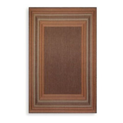 Trans-ocean - Trans-Ocean Etched Border Indoor/Outdoor Rug in Terracotta - Create a comfortable environment with this attractive Trans-Ocean etched-border rug. This indoor/outdoor rug is as perfect for your favorite room as it is for your gazebo or patio.