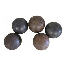 Vintage Bocce Balls - Set of five standard-size vintage bocce balls