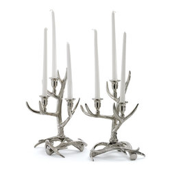 Go Home - Pair of Tangled Antler Candelabras - Tangled Antler Candelabras are intricately designed to enhance the look and feel of your decor. Made from nickel-plated brass and has polished nickel finish.