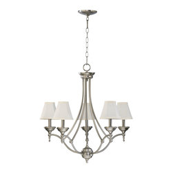Quorum Lighting - Quorum Lighting Ashton Traditional Chandelier X-56-5-6316 - This Quorum Lighting chandelier from the Ashton Collection features a beautiful design with a single tier of lights but plenty of visual interest and detailing. The candelabra lights are shielded by classic shades and each one is adorned with a beautifully detailed bobeche at the base.