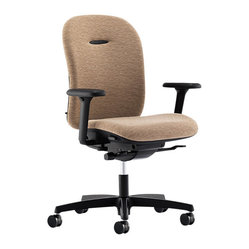 Hon - Mirus Chair, Low Back - Swing low, sweet chair-iot. Or swing high, tilt, support your lumbar, and adjust your arms and seat with this professional quality task chair. The back and seat are made of breathable, wheat-colored polyester, ensuring a stylish, go-with-anything look.