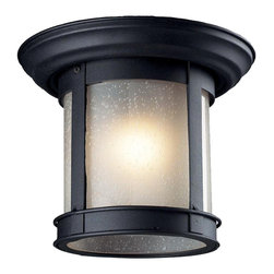 Z-Lite - Z-Lite 514F-BK Outdoor Flush Mount Light Black - This cast aluminum outdoor flush mount uses seedy frosted glass to create a unique look, along with the black finish.