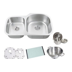 Chef - Chef Series 34 Inch Premium Undermount Double Bowl Kitchen Sink & ACCESSORIES - Chef Series 34 Inch Premium 16 Gauge Stainless Steel Undermount 40/60 Double Bowl Kitchen Sink Value Package. Sink Comes with Matching Protective Grid Set, Glass Cutting-board, Deluxe Basket Strainer and Deluxe Salad Bowl! Full 16 Gauge Stainless Steel Construction. Satin Polished Stainless Steel Finish.