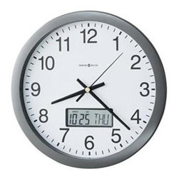Howard Miller Chronicle 14 in. Wall Clock - What We Like About The Howard Miller Chronicle Wall Clock This metallic gray wall clock has a flat bezel framing and glass crystal. The white dial features easy-to-read black Arabic numerals along with black hour minute and second hands. An LCD calendar in the dial displays the month date and day of the week. This clock operates on reliable quartz battery-operated movement (battery not included). There's a certain level of expectation that comes with the Howard Miller name. And then there's the steady stream of surprises that make you stop in your tracks and take a second look. From traditional to hot trends and floor clocks to wine furniture you'll find even more than you expected at Howard Miller. Fine details expert craftsmanship and beautiful materials; no matter what your taste or budget a Howard Miller clock fits the bill. About Howard MillerBeginning in the 1920's Howard Miller clocks have impressed all who see them with superior quality and design. Howard Miller wall floor and mantel clocks are crafted to last for generations and to perfectly accent your home. The company's founder Howard C. Miller began manufacturing wall and mantel clocks in Michigan. Evolving to encompass cabinet making and other furniture design - all renowned for quality and style - the Howard Miller company proudly stands behind its reputation as the World's Largest Clock Manufacturer.