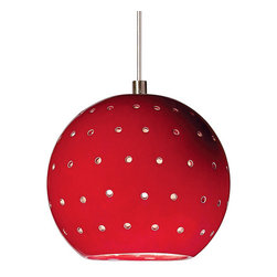 A19 - Lunar Mini Pendant - Matador Red - Without Canopy - Our Lunar mini pendant evokes the planets and stars. Its small spherical shape is supplemented by tiny circular holes, emitting an additional glow of light over the hand-glazed surface of the fixture. On its own, Lunar is perfect for a little accent light. Or group for more light in a row or multi-length collection.