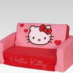 Kids Furniture - What could be better than a Hello Kitty couch? One that unfolds to make an extra bed! This soft sleeper sofa is cozy for sitting or laying down, all it takes is a quick flip. Durable and lightweight, this sofa is easy to move and with a wide base it's perfectly stabile.