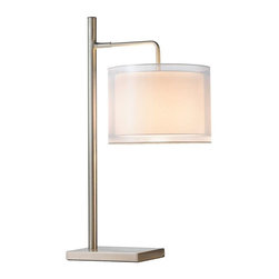 Adesso - Adesso Harlow Table Lamp - Satin steel table lamp has double drum 180 degrees adjustable shade. The hard-backed white rayon inner shade is surrounded by a glistening translucent white fabric shade with a clear PVC lining, creating a beautiful glow when lit. Takes one 60 Watt incandescent or 13 Watt CFL bulb, and has an on/off rotary switch. 26.25 in to 33.75 in Height, 14.5 in Maximum width, 11 in Maximum depth. Base: 8.5 in Width, 6.5 in Depth. Outer shade: 8 in Height, 11 in Diameter. Inner shade: 6.5 in Height, 9.5 in Diameter.