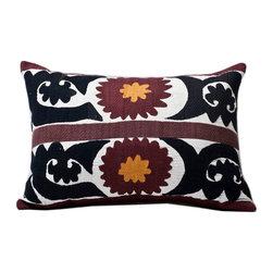 Metrohouse Designs - Embroidered Samarkand Tribal Band Suzani Lumbar Pillow Circa 1940's - Vintage Tribal Band Samarkand Suzani Accent Pillow