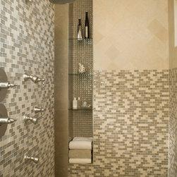 "Bathrooms - Sonoma Tilemakers Mosuprema1""x2""  Blend in the color Salvestrin and 6""x6"" La Casa Travertine Natural Stone"