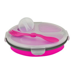Smart Planet - Collapsable Eco Meal Kit - 3 Compartment, Pink - Colorful and smart, these bento boxes will keep your food perfectly contained. Each Collapsible Eco Meal Kit features three inner compartments, a condiment container, reusable utensil and lid. Expand for ample room, or collapse to half its size for space-saving storage. Either way, you'll be saving on valuable resources when you to choose to reuse!