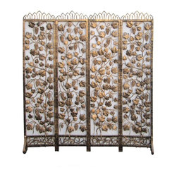 Golden Lotus - Golden Color Plants Motif Metal Panel / Screen - This is a very heavy piece of golden color screen. It is made of metal and has 4 foldable panels. It can be unique a room divider or door gate.