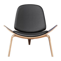Lemoderno - Wegner Shell Chair By Lemoderno, Black Leather - The Wegner Shell Chair is among the most famous designs created by Danish modernist, this three-legged accent chair almost fell into obscurity. Originally produced in 1963, it was discontinued after a few limited series. In 1997, production on the chair was re-launched and became a hit with the public. Crafted from solid oak with a lacquer finish, it has a padded seat that is removable. This item is a high quality reproduction of the original.