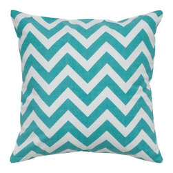 Rizzy Rugs - Teal and White 18 x 18-Inch Pillow - - Construction: Printing Details.  - Care and Cleaning: Machine Wash Seperately in Cold Water, Gentle Cycle, do Not Tumble Dry , Do not Bleach.  Rizzy Rugs - T05290