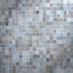 "Newport Collection Moonstone Marble Tight Joint Mosaic Tile - Polished Moonstone Marble Tightjoint Tile.  This Tightjoint tile has been designed to interlock so that when each tile is placed together and grouted they fit seamlessly together.  Each mosaic piece is 3/8"" x 3/8"".  It can be used for both commercial and residential settings.  We recommend it for kitchen backsplashes, bathroom floors and walls as well as wet areas (i.e. shower floors and walls).  The mesh backing not only simplifies installation, it also allows the tiles to bend and seperate easily.  Chip"