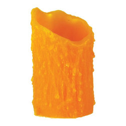 Meyda Tiffany - 3 in. Round Uneven Top Candle Cover - Tube candle cover - no bottom. Made from poly resin. Honey amber finish. 3 in. Dia. x 5 in. H