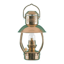 Weems & Plath Mini Trawler Oil Lamp - Solid brass, polished and lacquered. Inside of shade is white stove enameled. Oil container capacity: 10 oz. Burn time: +/- 30 hours with clean burning lamp fuel. It weighs 3.4 lbs.