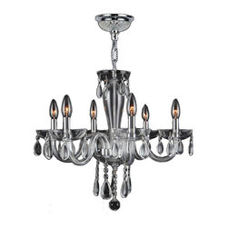 "Worldwide Lighting - Gatsby 6 Light Chrome Finish and Clear Blown Glass Chandelier 22"" x 19"" Medium - This stunning 6-light Chandelier only uses the best quality material and workmanship ensuring a beautiful heirloom quality piece. Featuring a radiant chrome finish and clear blown glass, this elegant chandelier is a work of art in its quality and beauty. Worldwide Lighting Corporation is a privately owned manufacturer of high quality crystal chandeliers, pendants, surface mounts, sconces and custom decorative lighting products for the residential, hospitality and commercial building markets. Our high quality crystals meet all standards of perfection, possessing lead oxide of 30% that is above industry standards and can be seen in prestigious homes, hotels, restaurants, casinos, and churches across the country. Our mission is to enhance your lighting needs with exceptional quality fixtures at a reasonable price."